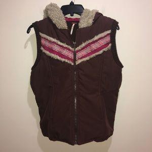 Free People Size L Brown, Wool Blend Hooded Vest
